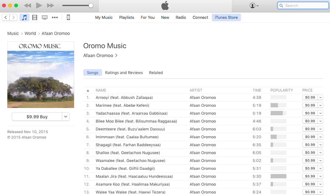 A screen shot of Oromo Music album on itunes (Screen Shot by The Horn Post, May 21, 2016)
